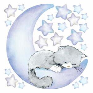 Modré dětské samolepky na zeď Ambiance Magic Cat