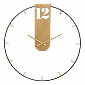 Černé nástěnné hodiny s detaily ve zlaté barvě Mauro Ferretti Goldy,ø60cm