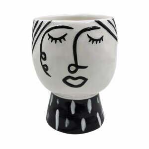 Černo-bílá porcelánová váza Mauro Ferretti Pot Face