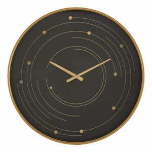 Černé nástěnné hodiny s rámem ve zlaté barvě Mauro Ferretti Plix,ø60cm