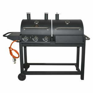 Černý gril na plyn a na dřevěné uhlí Cattara Duet