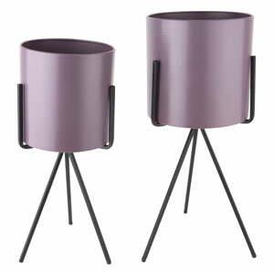 Sada 2 fialových železných květináčů na podstavci PT LIVING