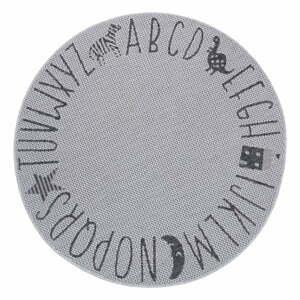 Šedý dětský koberec Ragami Letters, ø 120 cm