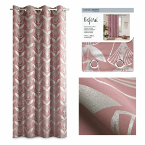 Růžový závěs AmeliaHome Floris,140x250cm