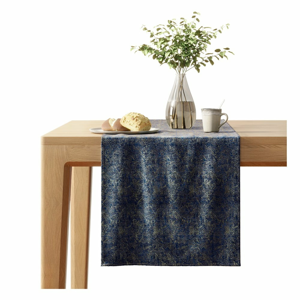 Modrý běhoun na stůl se sametovým povrchem AmeliaHome Veras,40x140cm