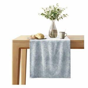 Světle šedý běhoun na stůl se sametovým povrchem AmeliaHome Veras,40x140cm