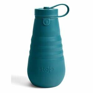 Tyrkysově modrá skládací lahev Stojo Bottle Lagoon, 590 ml