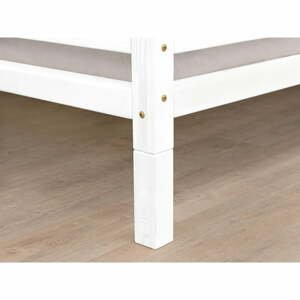 Sada 4 bílých prodloužených nohou ze smrkového dřeva k posteli Benlemi,výška10cm