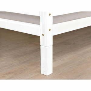 Sada 4 bílých prodloužených dřevěných nohou k posteli Benlemi,výška20cm