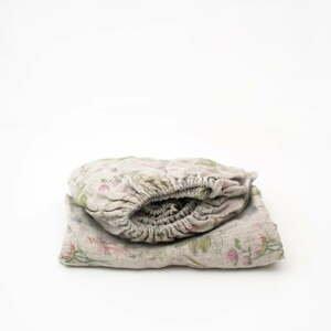 Dětské béžové lněné prostěradlo Linen Tales Botany,90x200cm