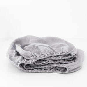 Dětské šedé lněné prostěradlo Linen Tales Nature,90x200cm
