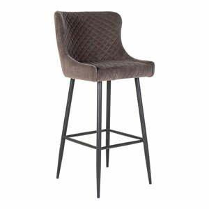 Šedá polstrovaná barová židle s potahem ze sametu House Nordic Dallas
