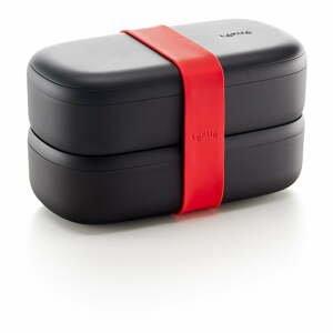 Černý obědový box s příborem Lékué ToGo