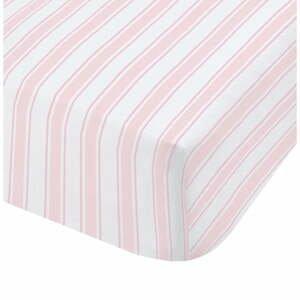 Růžovo-bílé bavlněné povlečení Bianca Check And Stripe, 90 x 190 cm