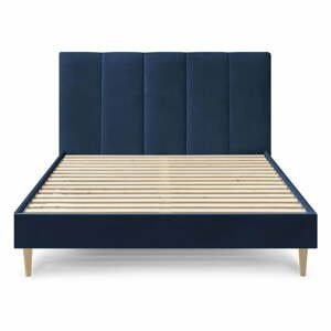 Tmavě modrá sametová dvoulůžková postel Bobochic Paris Vivara,160x200cm