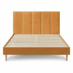 Žlutá sametová dvoulůžková postel Bobochic Paris Vivara,160x200cm