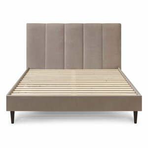 Béžová sametová dvoulůžková postel Bobochic Paris Vivara Velour,160x200cm