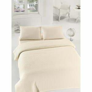 Krémový lehký bavlněný přehoz přes postel na dvoulůžko Eponj Home Caleidoscope,200 x235cm