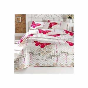 Set přehozu na dvoulůžko a 2 povlaků na polštář s příměsí bavlny Love Butterflies,200 x 220 cm
