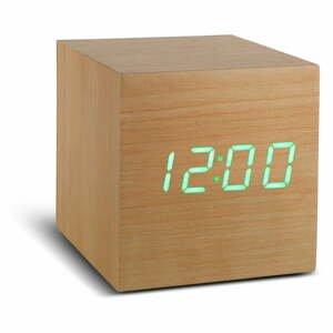Béžový budík se zeleným LED displejem Gingko Cube Click Clock