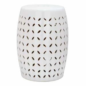 Bílý keramický stolek vhodný do exteriéru Safavieh Lattice Petal, ø33cm
