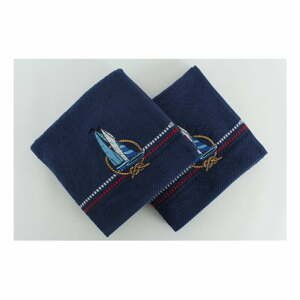Sada 2 tmavě modrých ručníků Yelken, 50x90 cm