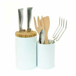Bílý blok na nože a kuchyňské náčiní z bambusového dřeva Wireworks Knife&Spoon