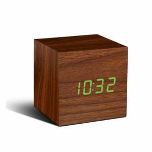 Hnědý budík se zeleným LED displejem Gingko Cube Click Clock