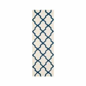 Bílo-modrý vlněný běhoun Safavieh Ava 76x243cm