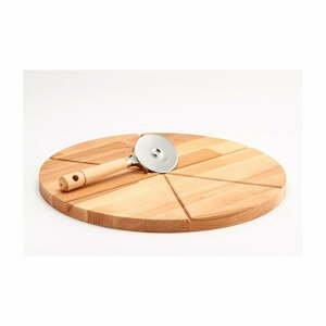 Set prkénka z bukového dřeva a kráječe na pizzu Bisetti,ø 35cm