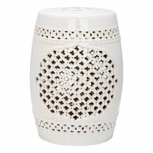 Krémový keramický stolek vhodný do exteriéru Safavieh Marbella, ø33cm