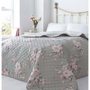Šedý přehoz přes postel Catherine Lansfield Canterbury Rose,240x260cm