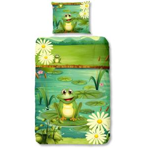 Dětské bavlněné povlečení Good Morning Frogs, 140 x 200 cm