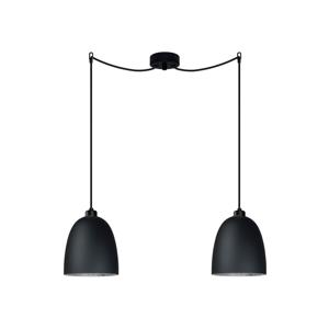 Černé dvojité stropní svítidlo s detailem ve stříbrné barvě Sotto Luce AWA Elementary 2S