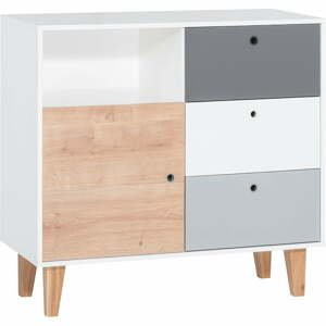 Bílo-šedá komoda s dřevěným detailem Vox Concept