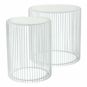 Sada 2 bílých odkládacích stolků Kare Design Wire High