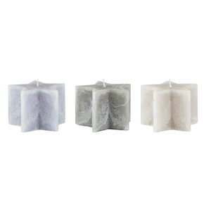 Sada 3 šedých svíček KJ Collection Stars, ⌀10x7cm