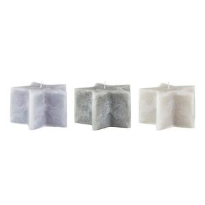 Sada 3 šedých svíček KJ Collection Stars, ⌀14×8,5cm
