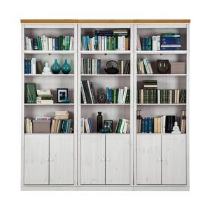 Bílá knihovna s hnědými detaily z borovicového masivu Støraa Annabelle, výška 219cm