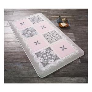Růžovobílá koupelnová předložka Confetti Ceramic, 80 x 140 cm