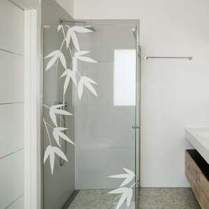 Samolepka na dveře od sprchy Ambiance Bamboo Leaves