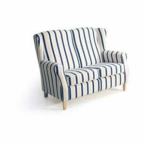Modrobílá pruhovaná pohovka Max Winzer Lorris, 139 cm