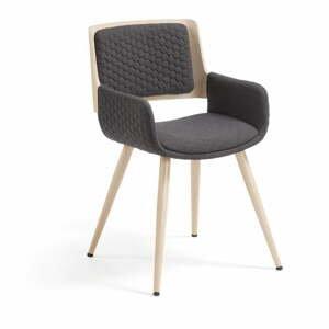 Tmavě šedá židle s kovovým podnožím a područkami La Forma Andre