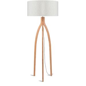 Stojací lampa se světle béžovým stínidlem a konstrukcí z bambusu Good&Mojo Annapurna