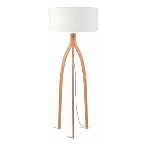 Stojací lampa s bílým stínidlem a konstrukcí z bambusu Good&Mojo Annapurna