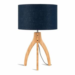 Stolní lampa s modrým stínidlem a konstrukcí z bambusu Good&Mojo Annapurna