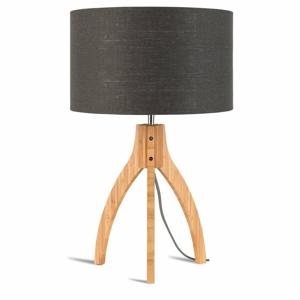 Stolní lampa s tmavě šedým stínidlem a konstrukcí z bambusu Good&Mojo Annapurna