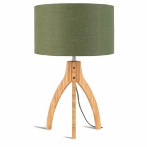 Stolní lampa se zeleným stínidlem a konstrukcí z bambusu Good&Mojo Annapurna