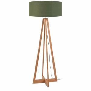 Stojací lampa se zeleným stínidlem a konstrukcí z bambusu Good&Mojo Everest