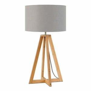 Stolní lampa se světle šedým stínidlem a konstrukcí z bambusu Good&Mojo Everest